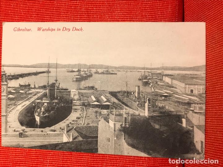 GIBRALTAR BARCOS DE GUERRA WAR SHIPS IN DRY DOCK (Postales - España - Andalucía Antigua (hasta 1939))