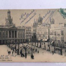 Postales: POSTAL ANTIGUA PLAZA ISABEL II CÁDIZ CON RARO MATASELLO NATIONAL SUBMARINE TELEGRAPH. Lote 171281769