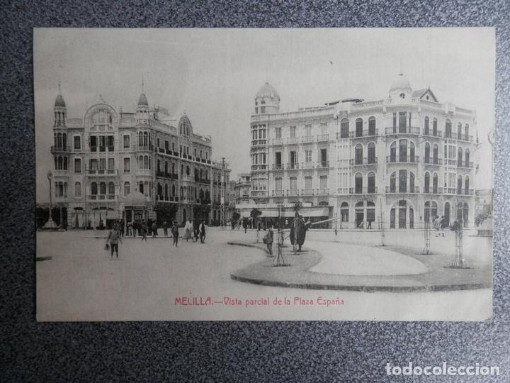 MELILLA VISTA PLAZA ESPAÑA POSTAL ANTIGUA (Postales - España - Andalucía Antigua (hasta 1939))