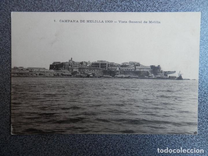 MELILLA VISTA GENERAL POSTAL CIRCULADA AÑO 1909 DATOS MILITAR REVERSO (Postales - España - Andalucía Antigua (hasta 1939))