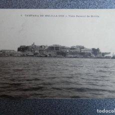 Postales: MELILLA VISTA GENERAL POSTAL CIRCULADA AÑO 1909 DATOS MILITAR REVERSO. Lote 171393860