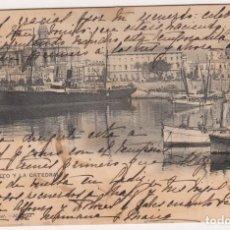 Postales: MUY BUSCADA TARJETA POSTAL EL PUERTO Y LA CATEDRAL MÁLAGA 27/SEPT/1906(HAUSER)CON SELLO ALFONSO XIII. Lote 171409224