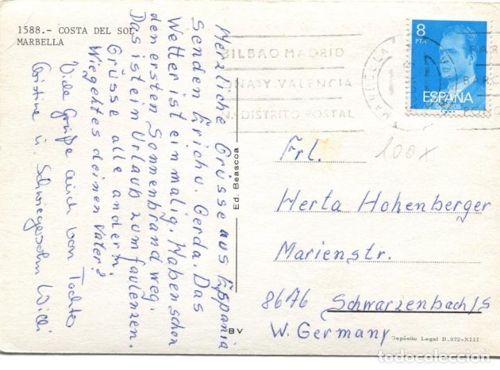 Postales: MARBELLA . COSTA DEL SOL. CIRCULADA. ED. BEASCOA. VER REVERSO - Foto 2 - 171815470