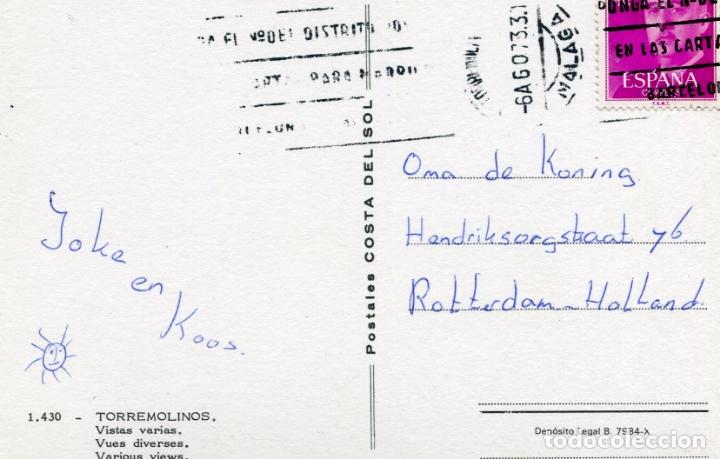 Postales: TORREMOLINOS. CIRCULADA. POSTALES COSTA DEL SOL. VER REVERSO - Foto 2 - 171844907