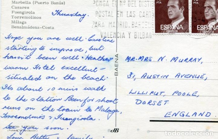 Postales: COSTA DEL SOL. MARBELLA CASARES, FUENGIROLA.... CIRCULADA. BAENA. VER REVERSO - Foto 2 - 172004008