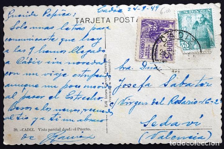 Postales: CÁDIZ, VISTA PARCIAL DESDE EL PUERTO - EDICIONES GARCÍA GARRABELLA - CIRCULADA AÑO 1949 - Foto 2 - 172834117