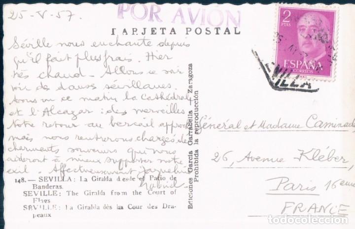 Postales: POSTAL SEVILLA - LA GIRALDA DESDE EL PATIO DE BANDERAS - GARRABELLA - CIRCULADA POR AVION - Foto 2 - 173142419