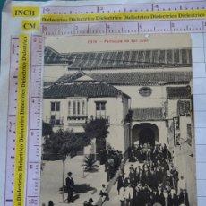 Postales: POSTAL DE MÁLAGA. AÑOS 10 30. COIN, PARROQUIA DE SAN JUAN. SALIDA DE MISA. 355. Lote 173980514
