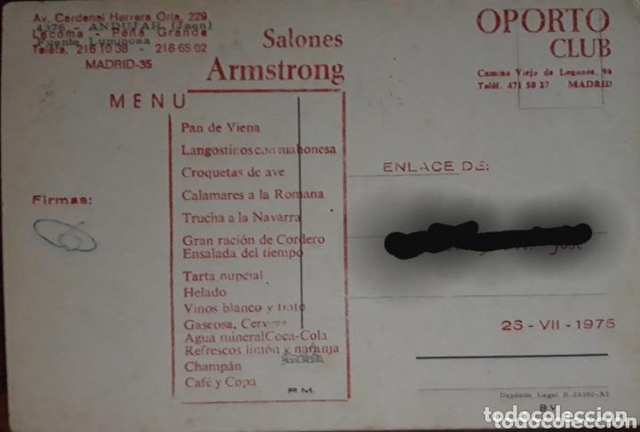 Postales: POSTAL FUENTE LUMINOSA DE ANDÚJAR. MENU DE BODA EN OPORTO CLUB DE MADRID - Foto 2 - 174229660