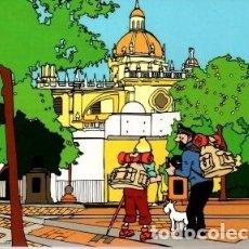 Postales: TINTIN EN JEREZ. VISTA DE LA CATEDRAL. REPRODUCCION DE LA OBRA DE IÑAKI BLANCO. Lote 176570917