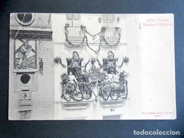 POSTAL SEVILLA. TRIANA. CONCURSO DE BALCONES. STENGEL AND CO. (Postales - España - Andalucía Antigua (hasta 1939))