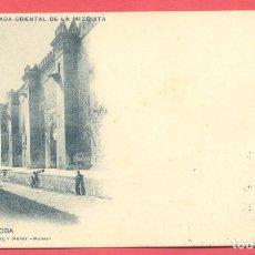 Postales: CORDOBA FACHADA ORIENTAL DE LA MEZQUITA, 105 HAUSER Y MENET, CIRCULADA 1900, SELLO DEL PELON. Lote 177400258