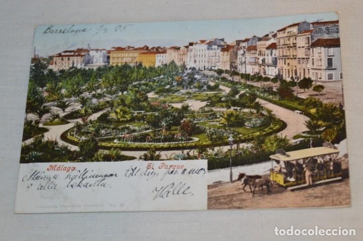 ANTIGUA / DIFÍCIL POSTAL CIRCULADA - MÁLAGA / EL PARQUE -- PRINCIPIOS 1900 ¡MIRA! (Postales - España - Andalucía Antigua (hasta 1939))