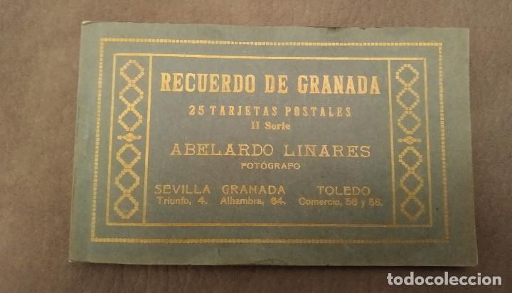 RECUERDO DE GRANADA, BLOK DE 25 POSTALES ANTIGUAS II SERIE, ABELARDO LINARES, ENVÍO GRATIS (Postales - España - Andalucia Moderna (desde 1.940))