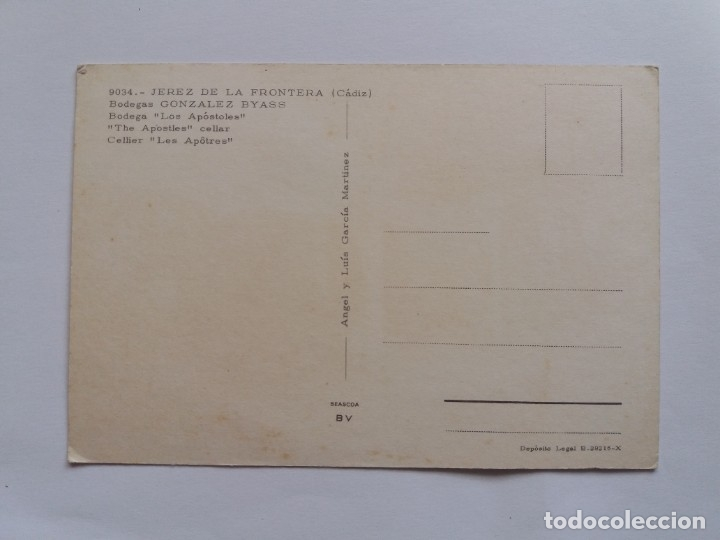 Postales: TARJETA POSTAL - JEPEZ DE LA FRONTERA CADIZ - BODEGAS GONZALES BYASS 9034 - Foto 2 - 179181985