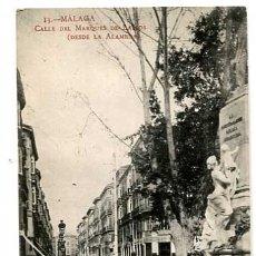 Postales: MALAGA CALLE DEL MARQUES DE LARIOS DESDE LA ALAMEDA. FOTOTIPIA MADRIGUERA. SIN CIRCULAR. Lote 179332062