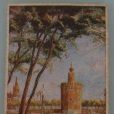 Postales: ANTIGUA POSTAL EN COLORES SIMIL ACUARELA DE LA TORRE DEL ORO EN SEVILLA - CIRCULADA AÑO 1953. Lote 180129533