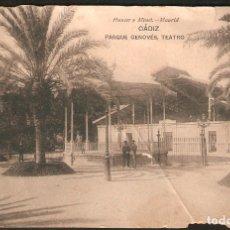 Postales: TARJETA POSTAL CÁDIZ: PARQUE GENOVÉS, TEATRO./ HAUSER Y MENET./ PRINCIPIO DE S.XX.. Lote 180147796