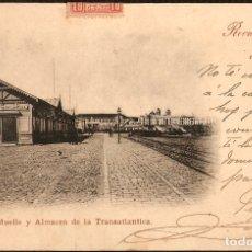 Postales: TARJETA POSTAL CÁDIZ: MUELLE Y ALMACÉN DE LA TRANSANLÁNTICA./ PRINCIPIOS DE S.XX.. Lote 180148243
