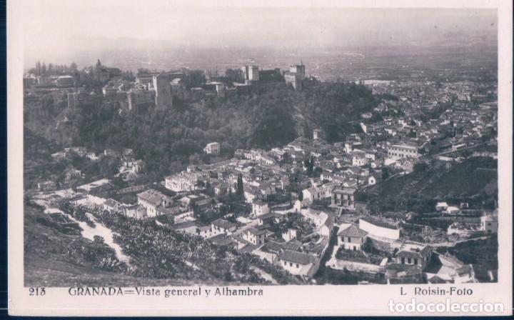 POSTAL GRANADA - VISTA GENERAL Y ALHAMBRA - ROISIN - 213 (Postales - España - Andalucía Antigua (hasta 1939))
