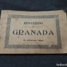 Postales: RECUERDO DE GRANADA.25 ARTÍSTICAS VISITAS 14 X 22 CM . Lote 180427785