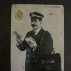 Postales: SEVILLA-CARTERO-POSTAL DESPEGABLE CON VISTAS DE SEVILLA-VER FOTOS-(63.546). Lote 181792315