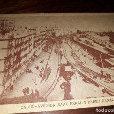 Postales: Nº 32403 POSTAL CADIZ AVENIDA ISAAC PERAL Y PASEO CANALEJAS. Lote 182064621