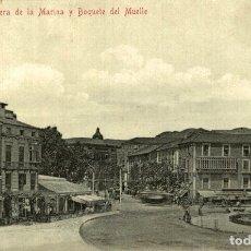 Postales: MÁLAGA.- ACERA DE LA MARINA Y BOQUETE DEL MUELLE. Lote 182692100