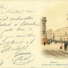 Postales: SEVILLA PLAZA DE LA CONSTITUCIÓN SERIE CROMOLITOGRAFICA. CIRCULADA EN 1898.PELÓN. MUY RARA.. Lote 182892658