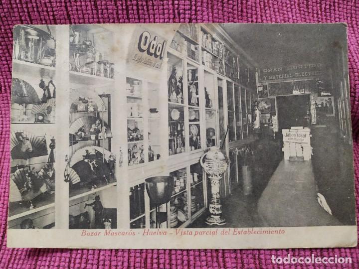 BAZAR MASCARÓN. HUELVA. VISTA PARCIAL DEL ESTABLECIMIENTO. MUESTRARIO. (Postales - España - Andalucía Antigua (hasta 1939))