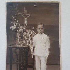 Postales: RETRATO NIÑO PRIMERA COMUNION ALLOZA FOTOGRAFO HUELVA POSTAL FOTOGRAFICA. Lote 186149760