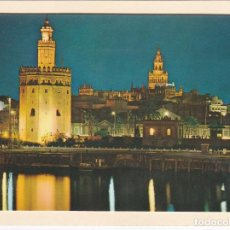 Postales: POSTAL TORRE DEL ORO Y GIRALDA NOCTURNA. SEVILLA (1969). Lote 187493050