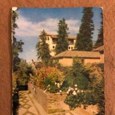 Postales: GRANADA, GENERALIFE, JARDINES. POSTAL CIRCULADA EDITORIAL PADRE SUÁREZ N° 26.. Lote 189793750