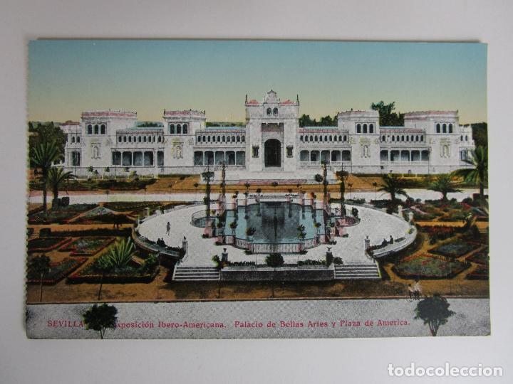 POSTAL SEVILLA - EXPOSICIÓN IBERO-AMERICANA, ESTANQUE CENTRAL Y PALACIO DE BELLAS ARTES - C.R.S. (Postales - España - Andalucía Antigua (hasta 1939))