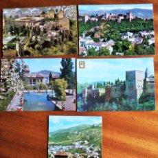 Postales: LA ALHAMBRA. GRANADA. LOTE 5 POSTALES. SIN CIRCULAR.. Lote 190529976