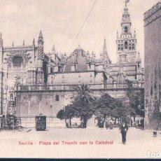 Postales: POSTAL PZ 10308 SEVILLA - PLAZA DEL TRIUNFO CON LA CATEDRAL - PHOTOGLOBE ZURICH. Lote 191709675