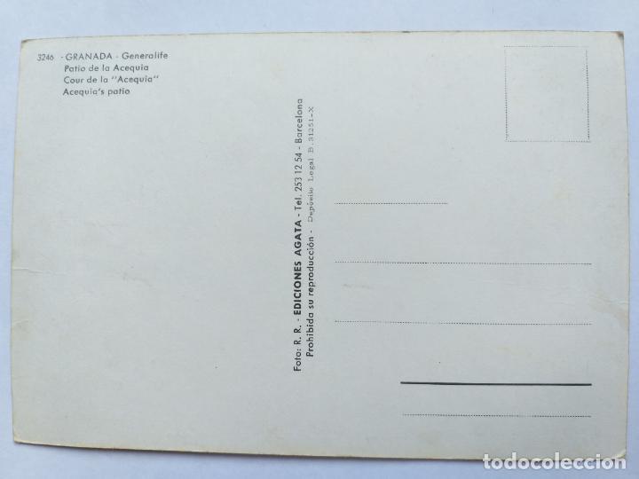 Postales: POSTAL Nº 3246. GRANADA. GENERALIFE. PATIO DE LA ACEQUIA. EDICIONES ÁGATA. SIN CIRCULAR. - Foto 2 - 192208676