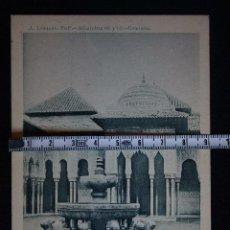 Postales: GRANADA ALHAMBRA-FUENTE Y TEMPLETE LEVANTE-N°13-FOTO LAURENT,MADRID. Lote 193638252