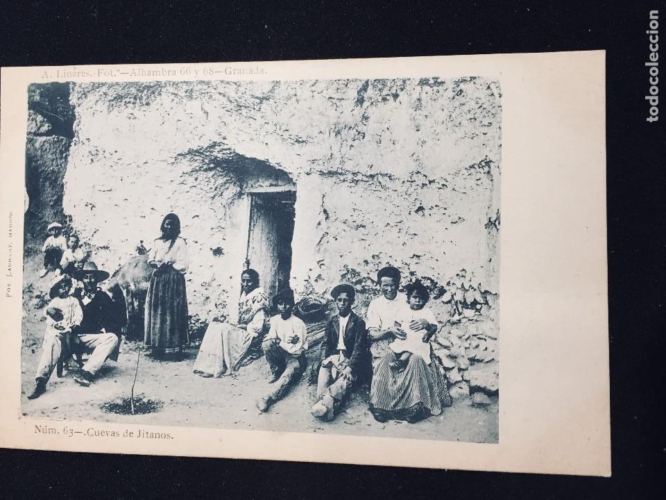 POSTAL GRANADA CUEVAS DE JITANOS GITANOS N 63 A LINARES NO INSCRITA NO CIRCULADA (Postales - España - Andalucía Antigua (hasta 1939))