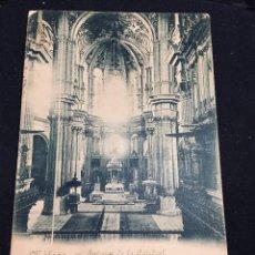 Postales: POSTAL AZULADA MALAGA INTERIOR DE CATEDRAL A DE FUENTES INSCRITA CIRCULADA. Lote 194294016