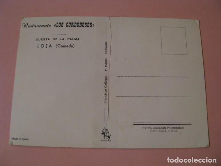 Postales: POSTAL DE RESTAURANTE LOS CORDOBESES. CUESTA DE LA PALMA. LOJA (GRANADA). CORTADA POR LA MITAD. - Foto 2 - 194335414