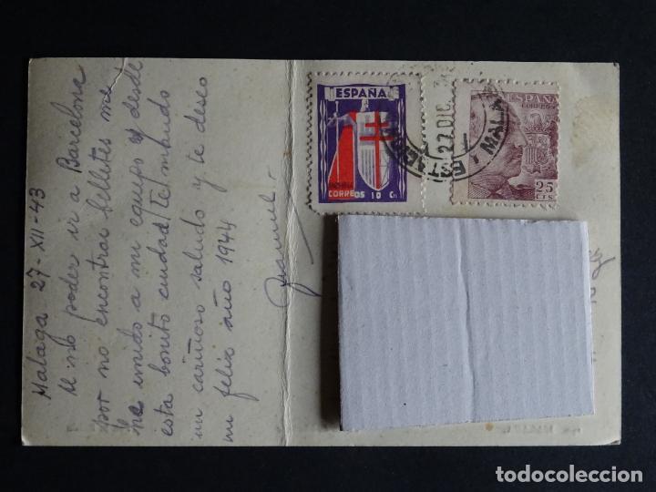 Postales: Malaga, paseo de LIMONAR, postal circulada con sellos del año 1943, ver comentarios - Foto 2 - 194510675