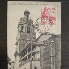 Postales: RONDA-IGLESIA DE SANTA MARIA LA MAYOR-ED·H.G.C.-POSTAL ANTIGUA-(67.884). Lote 194725211