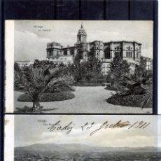 Postales: DOS POSTALES DE MALAGA-PRIMERA SIN CIRCUALAR SEGUNDA CIRCULADA Y FRANQUEADA .. Lote 194991225