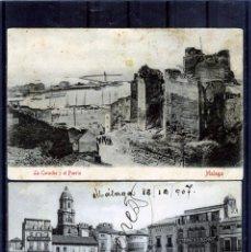 Postales: DOS POSTALES DE MALAGA-LA PRIMERA SIN SIRCULAR-LA SEGUNDA ESCRITA Y FRANQEADA .. Lote 194992021