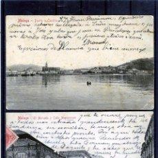 Postales: DOS POSTALES DE MALAGA-ESCRITAS POR EL EL ANVERSO-UNA FRANQUEADA .. Lote 194992405