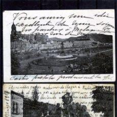 Postales: DOS POSTALES DE MALAGA-DOS VISTAS MUY ANTIGUAS-RAYADO DEL REVERSO HORIZONTAL .. Lote 194994871