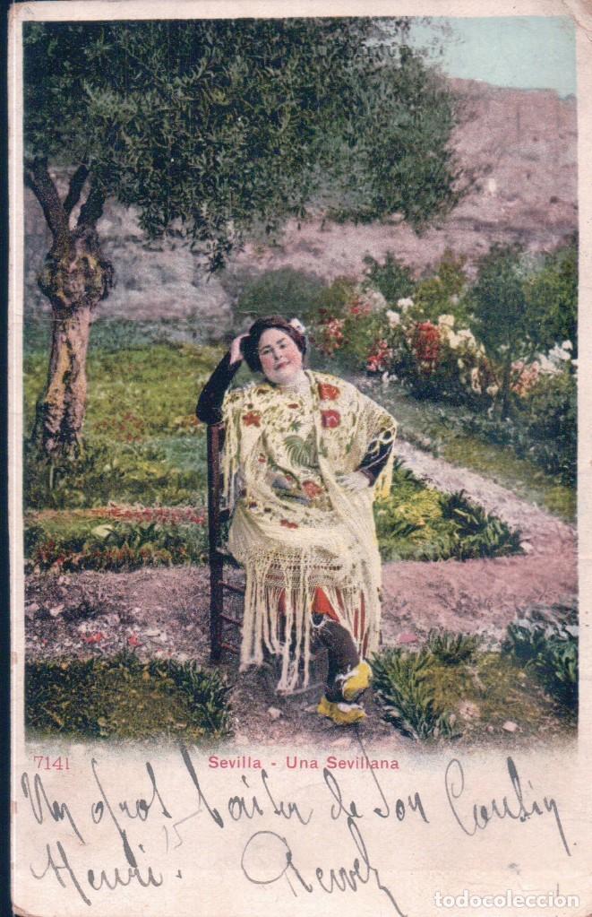 POSTAL PZ 7141 SEVILLA - UNA SEVILLANA - PHOTOGLOB ZURICH - CIRCULADA - SIN DIVIDIR (Postales - España - Andalucía Antigua (hasta 1939))