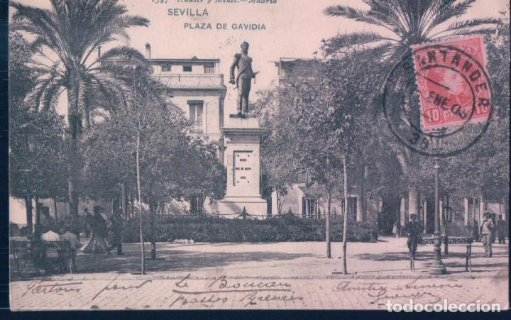 POSTAL 1547 HAUSER Y MENET SEVILLA - PLAZA DE GAVIDIA - CIRCULADA SELLO ALFONSO XIII - SIN DIVIDIR (Postales - España - Andalucía Antigua (hasta 1939))