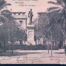 Postales: POSTAL 1547 HAUSER Y MENET SEVILLA - PLAZA DE GAVIDIA - CIRCULADA SELLO ALFONSO XIII - SIN DIVIDIR. Lote 195272723